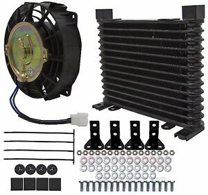 External Aluminum Automatic Transmission Fluid Oil Cooler With 7 Electric Fan