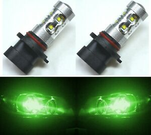 Led 50w 9005xs Hb3a Green Two Bulbs Head Light High Beam Replace Show Use