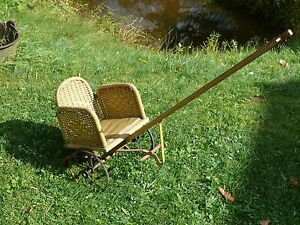 Antique Orig Ca 1900 Heywood Wakefield Wicker Child S Chariot Style Pull Chair