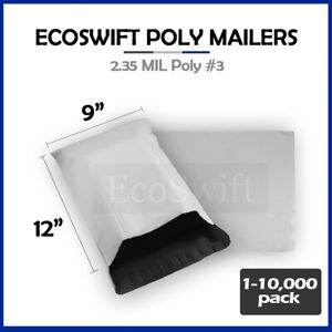 1 10000 9 X 12 ecoswift Poly Mailers Envelopes Plastic Shipping Bags 2 35 Mil