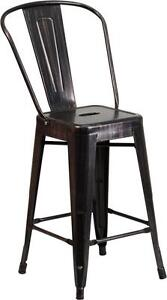 Black Antique 24 Seat Height Restaurant Metal Counter Height Stool
