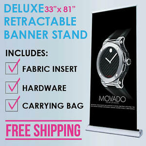 33 x81 Retractable Roll Up Banner Stand Trade Show Display Free Fabric Print