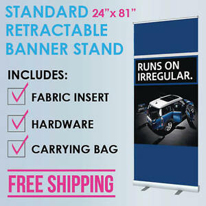 24 x81 Retractable Roll Up Banner Stand Trade Show Display Free Fabric Print
