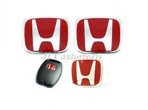 4pcs Front rear steering Wheel Red H Emblem key For 06 07 Honda Accord Sedan 4dr