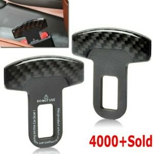 Pair Universal Carbon Fiber Car Safety Seat Belt Buckle Alarm Stopper Clip Clamp