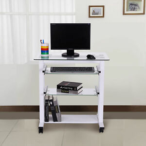 Homcom Computer Workstation W Wheels Laptop Pc Desk Glass Table Stand White