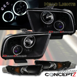 2005 2009 Ford Mustang Halo Projector Headlights Black Style W Front Bumper