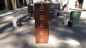 Vintage File Cabinet 5 Drawer Legal W lock Key We Deliver Locally Northern Ca