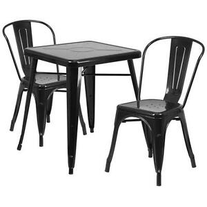 Black Metal Restaurant Table Set With 2 Stack Chairs