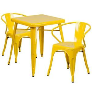 Yellow Metal Restaurant Table Set With 2 Arm Chairs
