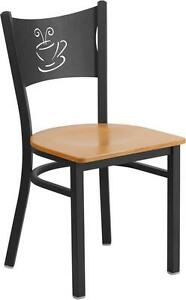 Hercules Series Black Coffee Back Metal Restaurant Chair Natural Wood Seat