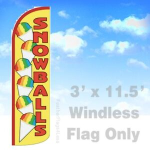 Snowballs Windless Swooper Feather Flag 3x11 5 Snow Balls Banner Sign Yq