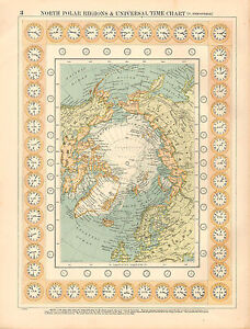 1908 Large Victorian Map North Polar Regions Universal Time Chart