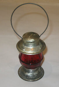 Antique Vintage Tin Toy Lantern Candy Containers Red Avor 3 4 Oz 4 Ht