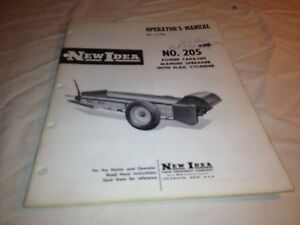 Operator Manual New Idea No 205 Power Take Off Manure Spreader With Flail Cylin