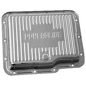 Chrome Chevy Powerglide Finned Transmission Pan With Drain Plug stock Depth