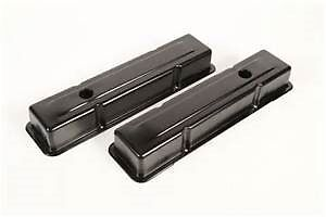 Small Block Sb Chevy Short Black Steel Valve Covers 1958 86 283 305 327 350