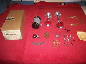 Vintage 1960 s Nos Sears 12 Volt Electric Air Horn Kit Made In Italy In Orig Box