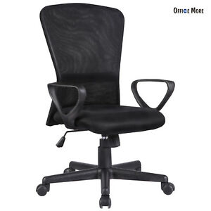 Ergonomic Mesh Office Chair Fit Computer Chair Desk Armrest With Back Black