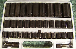 38pc 3 8 And 1 2 Drive Air Impact Socket Set Sae Metric Deep Short W Case