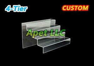 Display Riser Stand Toy Jewelry Showcase Acrylic Plexiglass 4 Steps 12 x10 x7