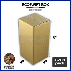 1 200 4x4x8 ecoswift Cardboard Packing Mailing Shipping Corrugated Box Cartons