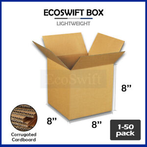 1 50 8x8x8 ecoswift Cardboard Packing Mailing Shipping Corrugated Box Cartons