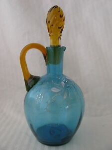 Victorian Sapphire Blue Glass Cruet Enamel Decorated Amber Stopper Applied Handl