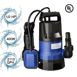 1 2 Hp 2112gph 400w Submersible Water Pump Swimming Pool Dirty Flood Clean Pond
