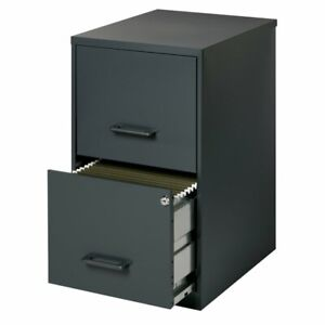 Space Solutions 18 2 Drawer Metal File Cabinet Black
