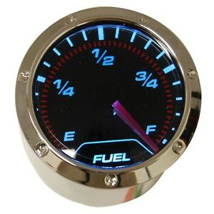 Fuel Level Gauge 2 52mm Black Faced Chrome Bezel Blue Led Back Light