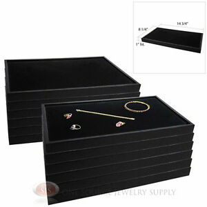 12 Black Plastic Stackable Trays W Black Velvet Pad Display Jewelry Inserts