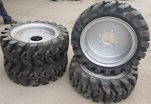4 Tires With Wheels Solid 33x12 20 12 16 5 Skid steer Loader Tire 331220