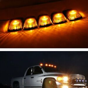 5 Smoked Lens Cab Roof Marker Running Lamps W Amber Led Lights For Truck 4x4