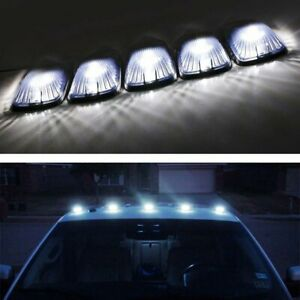 5 Smoked Lens Cab Roof Marker Running Lamps W White Led Lights For Truck 4x4