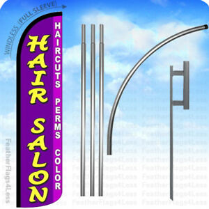Hair Salon Haircuts Perms Color Windless Swooper Feather Flag 15 Kit Sign Pz