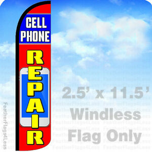 Cell Phone Repair Windless Swooper Flag 3x11 5 Feather Banner Sign Rz