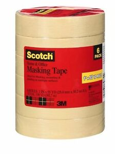 Scotch Masking Tape 1 X 55 Yds 6 Rolls