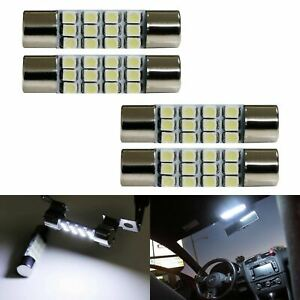 4 White 12 Smd 1 72 42mm 578 211 2 Led Bulbs For Car Interior Map Dome Lights