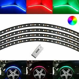 4pc Multi color Flexible Rgb Led Wheel Fender Well Accent Lighting Kit Remote