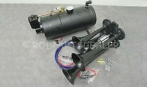Quad 4 Air Train Horn Kit Semi Truck Boat Black Horns 120 Psi Compressor 12v