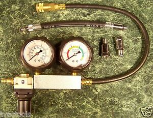 Engine Cylinder Leak Down Tester Kit W Case Test Motor Pressure Air Loss Leaking