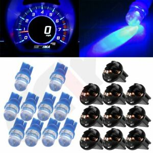 10x Blue T10 168 194 Led Bulbs Instrument Gauge Cluster Dash Light W Sockets