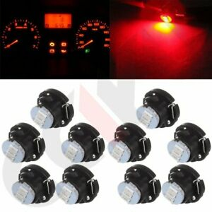 10x Ultra Red T5 T4 7 Neo Wedge 3smd Led Dash A C Climate Control Light Bulbs