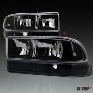 1998 2004 Chevy S10 Blazer Pickup Euro Black Headlights Clear Bumper Lamps Pair