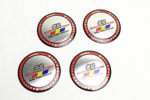4pcs Silvery Red Mugen Power Aluminum Alloy Car Wheel Center Caps Sticker Emblem