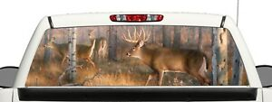 Truck Rear Window Wrap Deer Hunt Sticker Graphic Decal Perforated Vinyl Kit B2