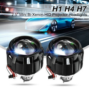 2x 2 5 Mini Bi Xenon Hid Projector Kit Lens Car H1 Headlights Shroud Gift Lhd