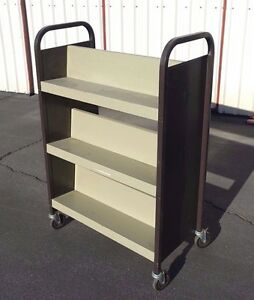 Heavy Duty 3 tier Double Bookshelf Metal Rolling Cart