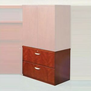 Filing Cabinet File Storage 2 Drawer Lateral Wood With Unfinished Top In Cherry